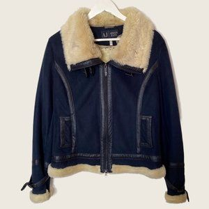 Armani Jeans Faux Suede Flying Jacket with Faux Shearling Lining